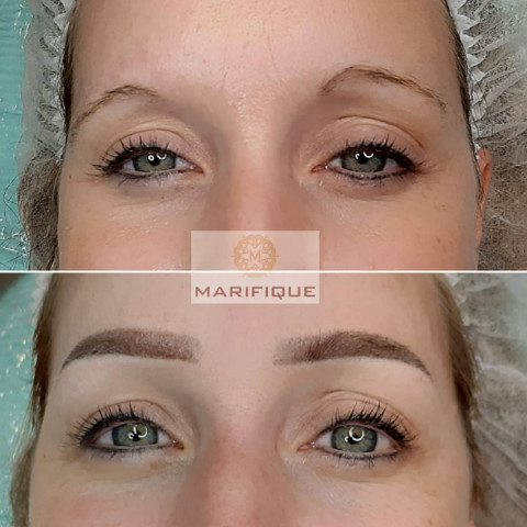 Browstyling Powder Brows Browmapping Studio Marifique voor en na permanente makeup